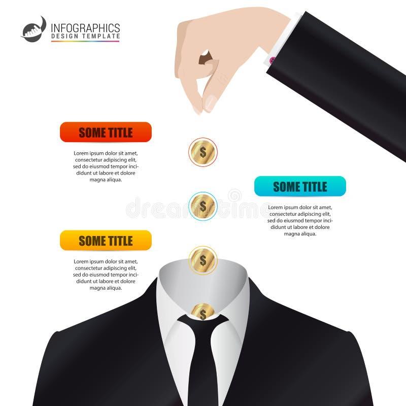 Шаблон infographics срока Концепция дела с монетками иллюстрация штока