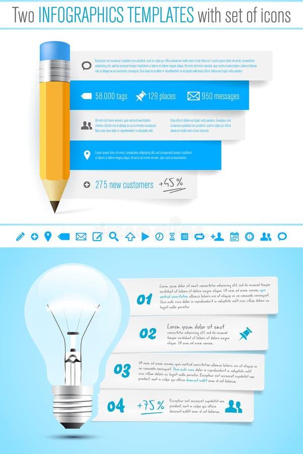 Шаблон infographics 2 с карандашем и шариком иллюстрация вектора