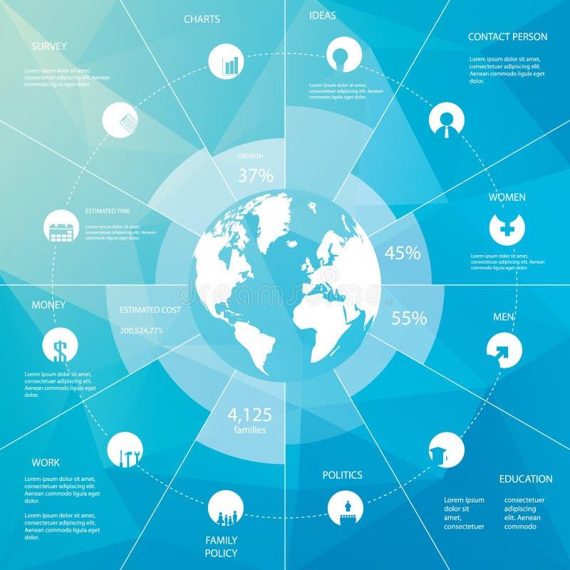 Шаблон Infographics с картой мира иконы просто иллюстрация вектора