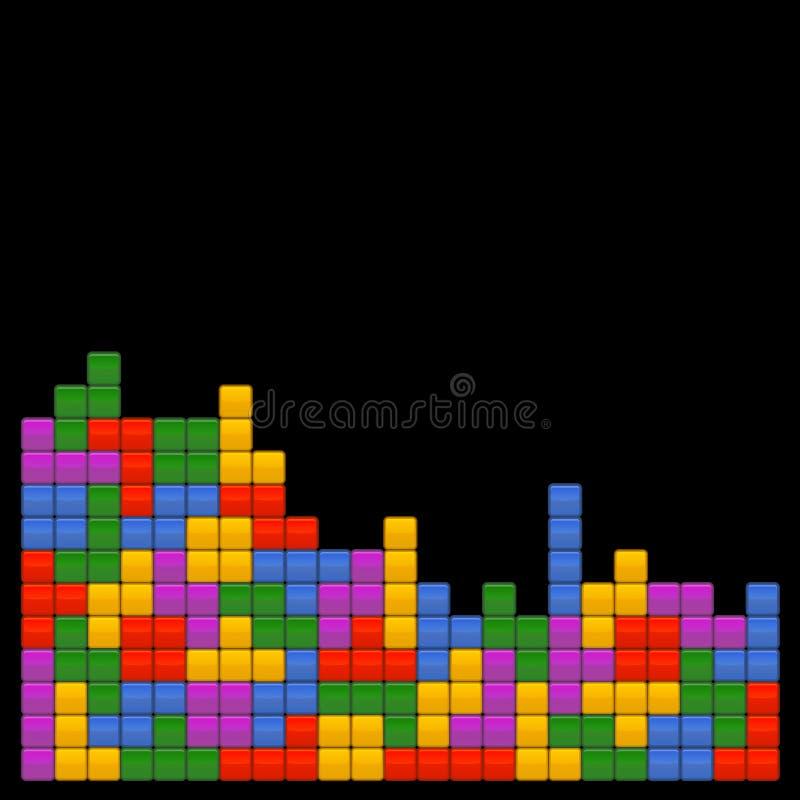 Шаблон Tetris кирпича игры на черной предпосылке вектор иллюстрация штока