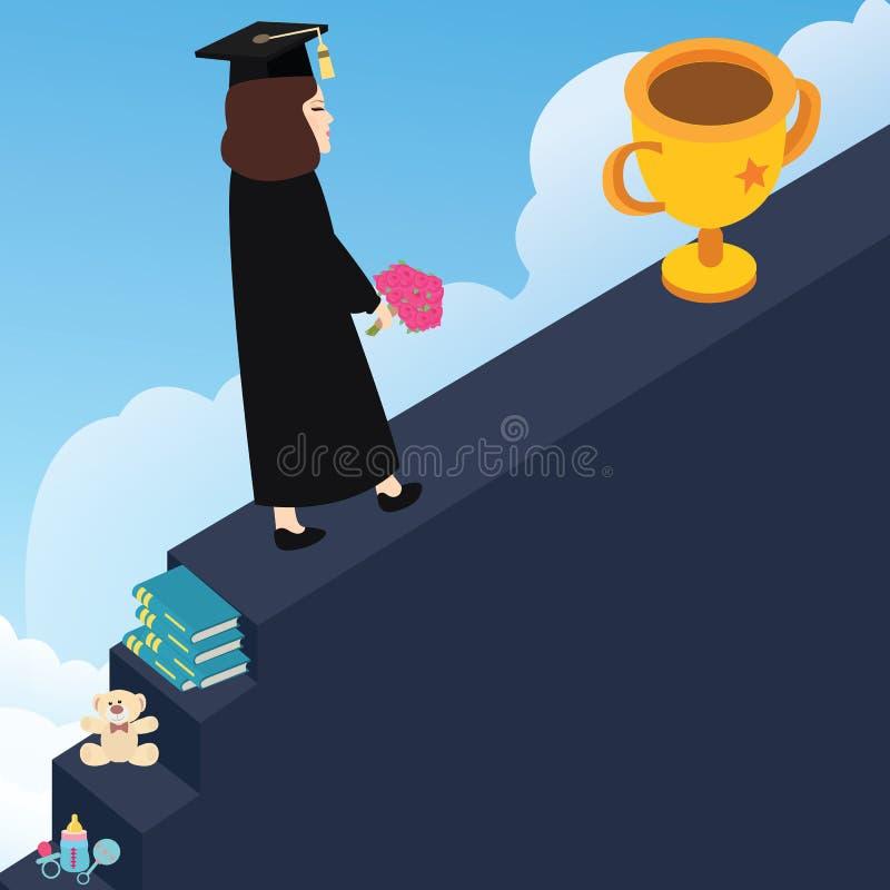 Шагает достигаемостью ваша мечта для того чтобы быть победителем через образование бесплатная иллюстрация