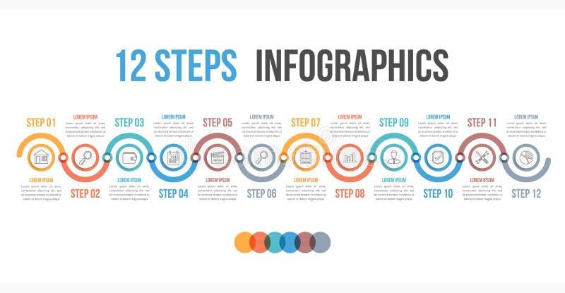 12 шага Infographics иллюстрация вектора