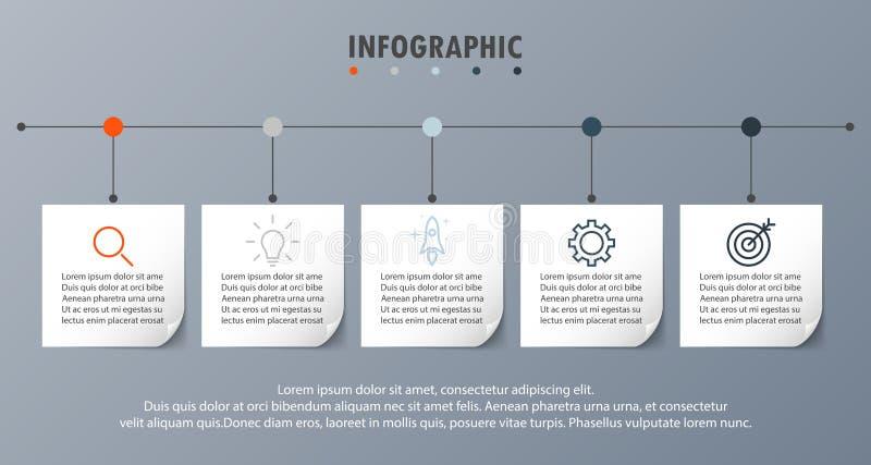 Шаги бумаги 5 временной последовательности по концепции Infograph реалистические иллюстрация штока