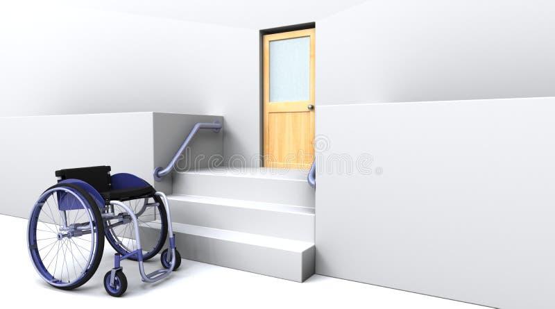 шаги двери передние к кресло-коляске иллюстрация штока
