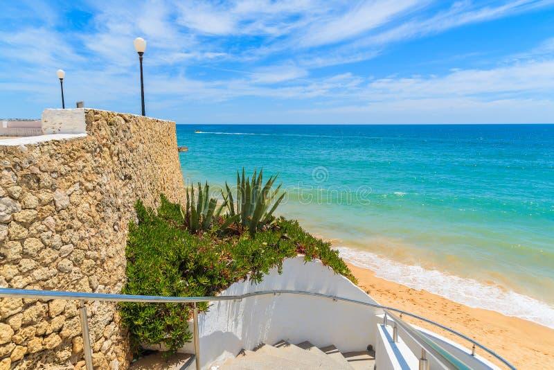 Шаги к красивому пляжу стоковое изображение rf