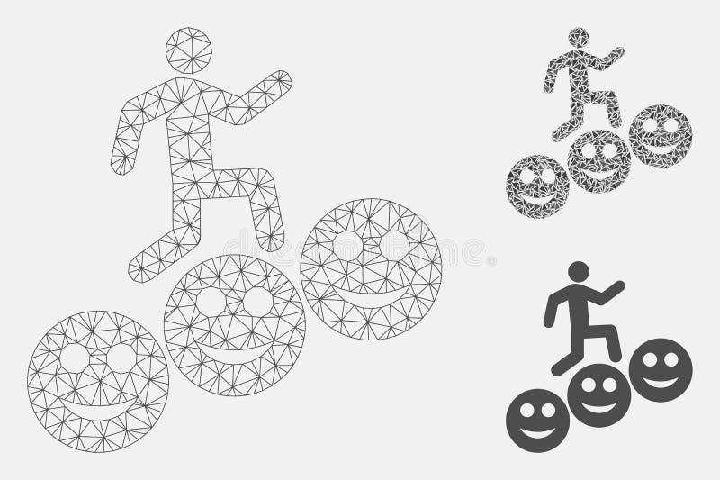 Шаги человека усмехаются значок мозаики модели и треугольника сетки вектора уровней 2D бесплатная иллюстрация