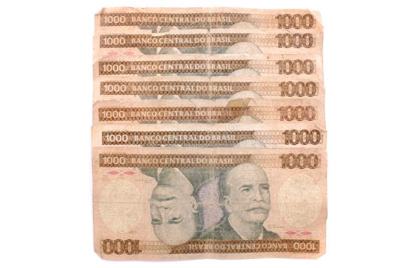Шаги cruzeiros Mil - старый бразильский счет стоковые изображения rf