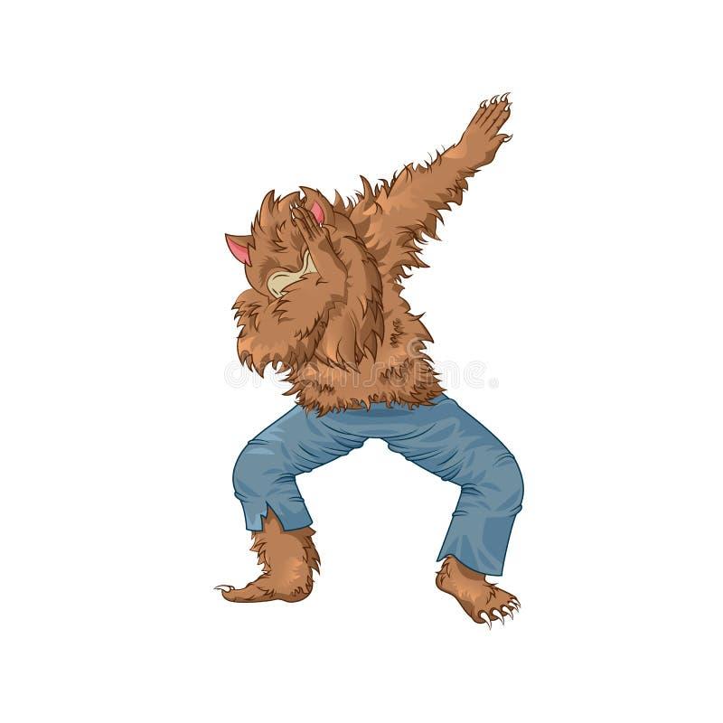 Шаг лиманды танцев характера wolfman оборотня иллюстрация штока