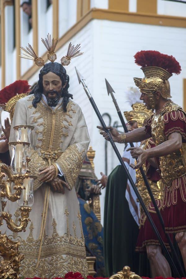 Шаг тайны братства озлобления, святая неделя в Севилье стоковое изображение rf