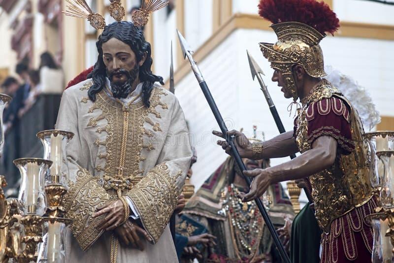 Шаг тайны братства озлобления, святая неделя в Севилье стоковая фотография rf