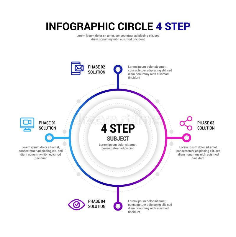 Шаг Infographic круга 4 стоковая фотография rf