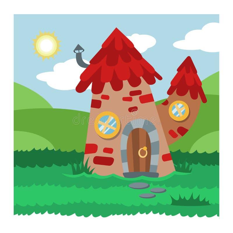 Шалаш на дереве феи мультфильма вектора дома гнома фантазии и волшебный расквартировывая набор иллюстрации деревни сказки гнома д иллюстрация штока