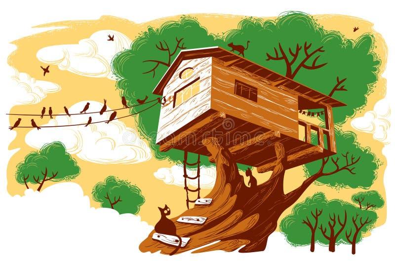 шалаш на дереве иллюстрация штока