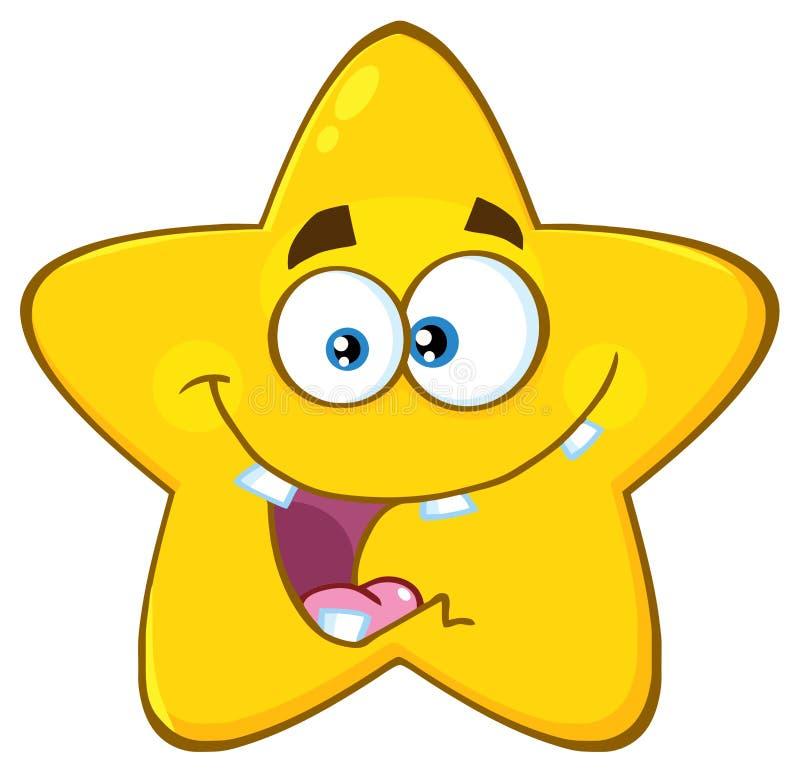 Шальной желтый шарж Emoji звезды смотрит на характер с выражением иллюстрация штока