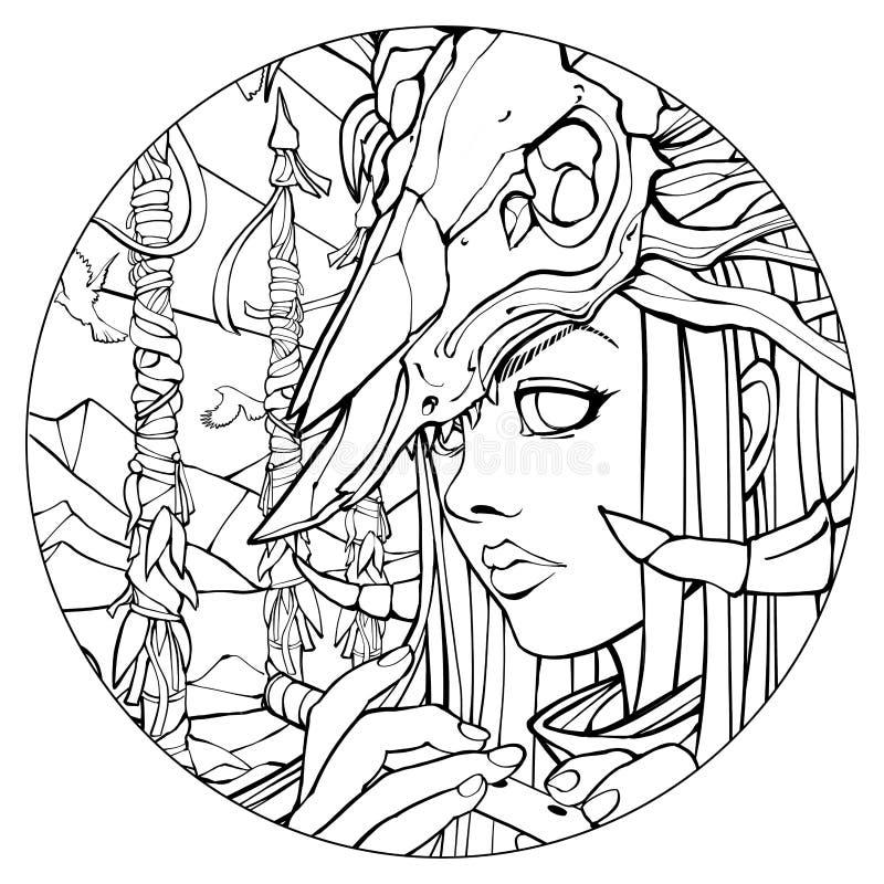Шаман девушки с каннелюрой с черепом на голове бесплатная иллюстрация