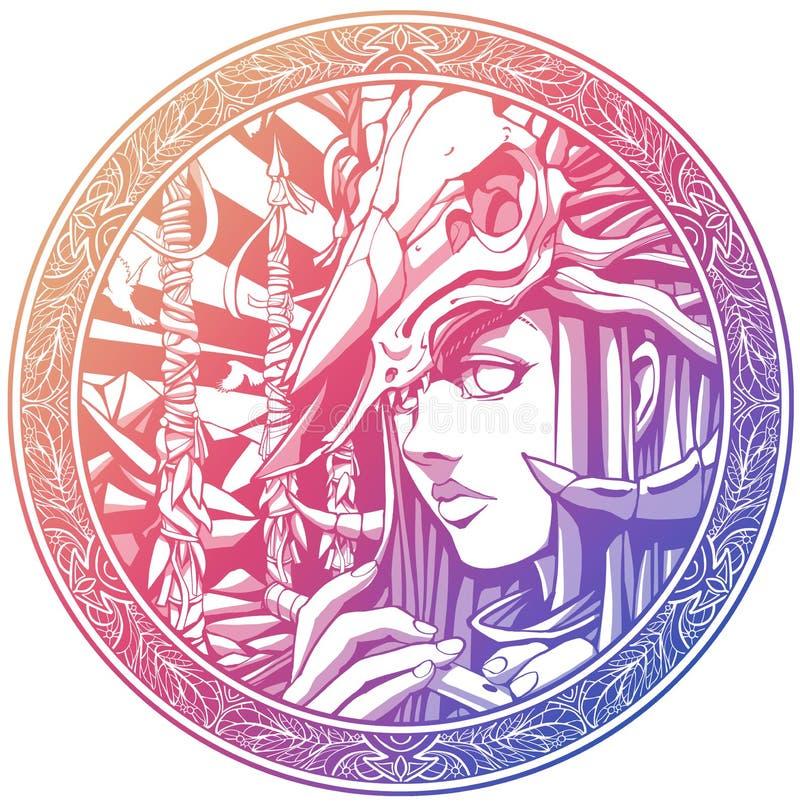 Шаман девушки с каннелюрой с черепом на голове иллюстрация вектора
