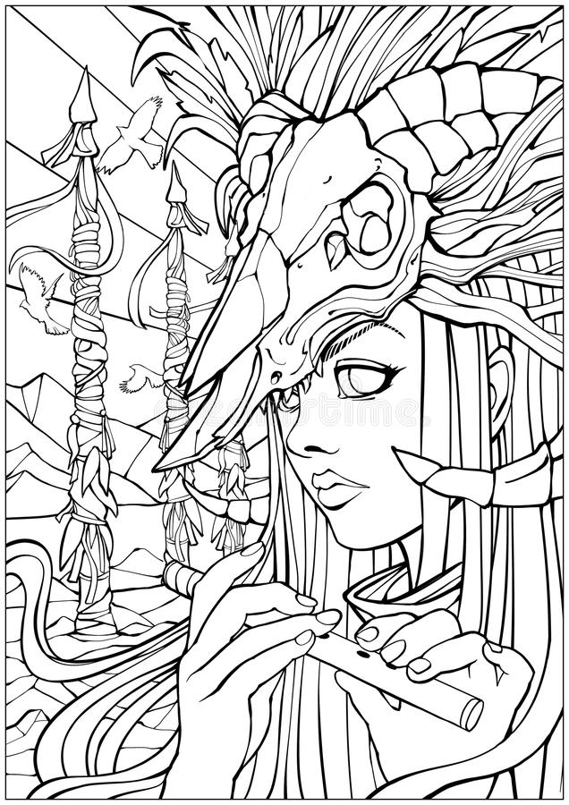 Шаман девушки с каннелюрой с черепом на голове иллюстрация штока
