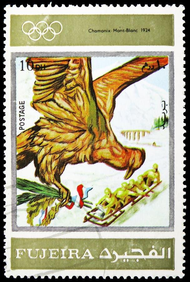 Шамони 1924, Олимпийские Игры зимы 1924-1972, рекламируя serie плакатов, около 1972 стоковая фотография