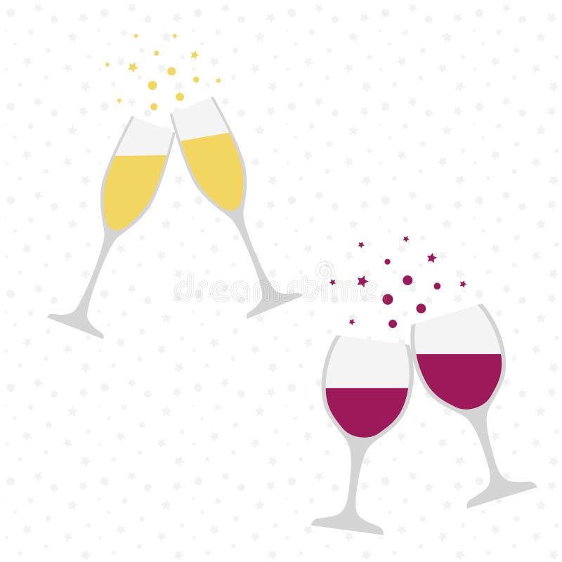 2 шампанское и бокалы cheers Торжество Здравица праздника иллюстрация штока