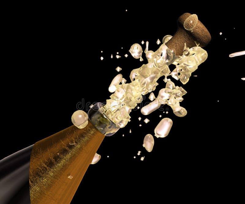 шампанское хлопает вверх иллюстрация вектора