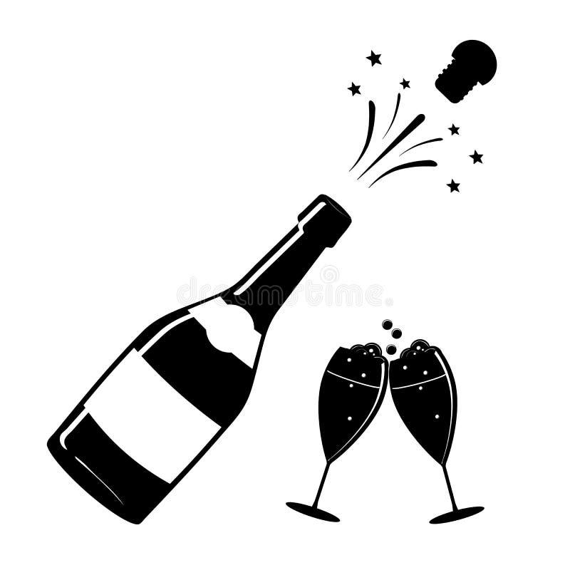Шампань, или значок вина Черный силуэт бутылки шампанского и стекла iconography вектор иллюстрация вектора