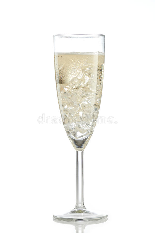 Шампань при лед изолированный на белизне стоковое фото