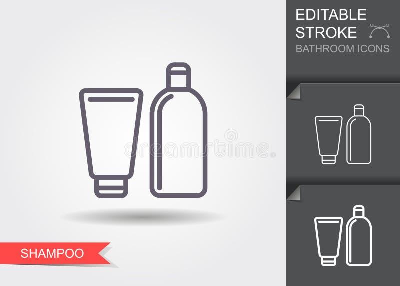 Шампунь Линия значок с editable ходом с тенью бесплатная иллюстрация