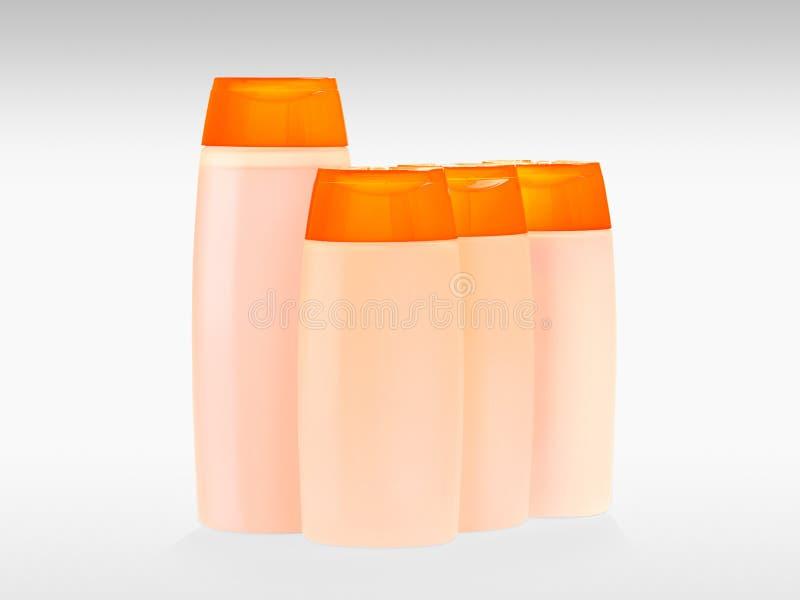 шампунь проводника бутылок установленный стоковые фотографии rf