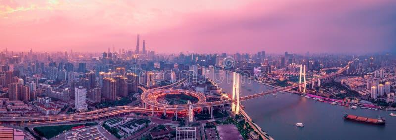 Шанхай: мостик Панорама стоковые фото