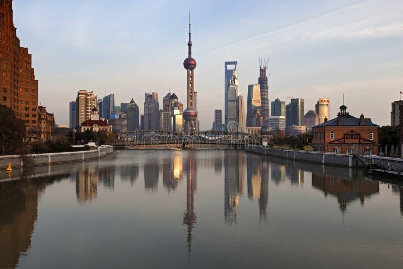 Шанхай Пудун на заходе солнца, Китай стоковое фото rf