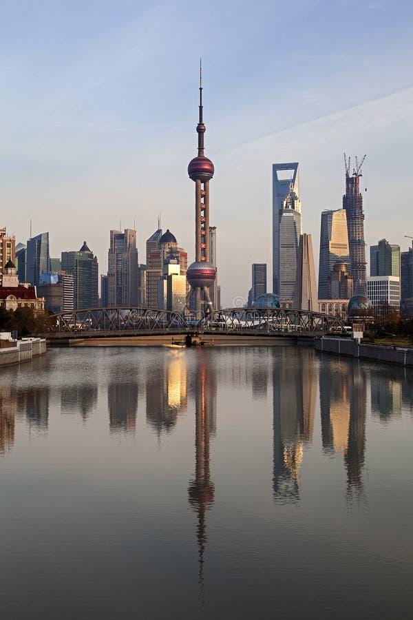 Шанхай Пудун на заходе солнца, Китай стоковая фотография