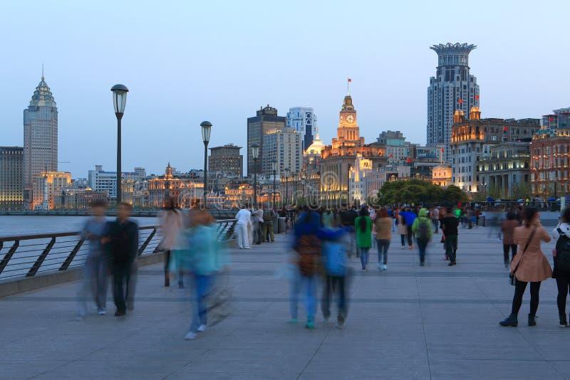 Шанхай сцена ночи бунда стоковое фото rf