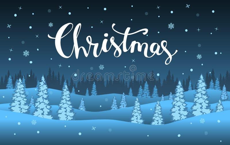 Шаржа Нового Года рождества xmas зимы ландшафт ночи счастливого голубой иллюстрация штока