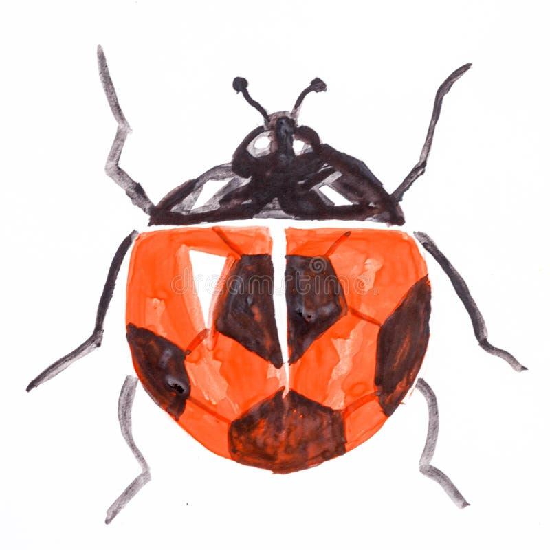 Шаржи акварели нарисованные рукой резвятся ladybird насекомого футбола иллюстрация штока