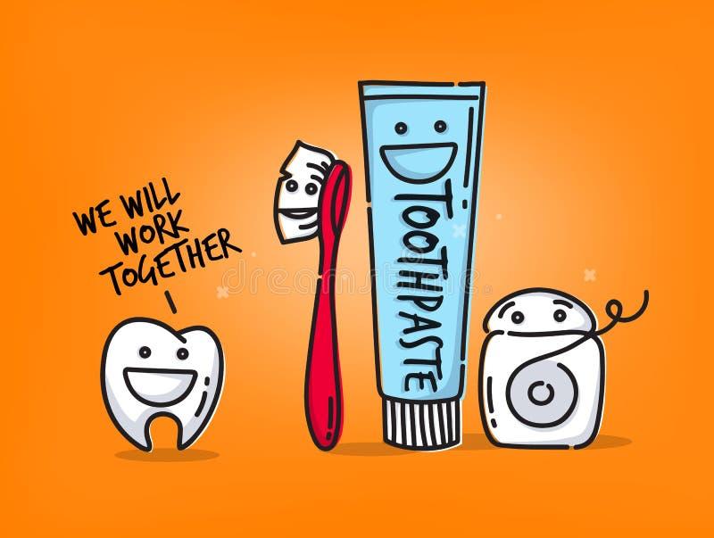 Шаржи зубов оранжевые иллюстрация вектора
