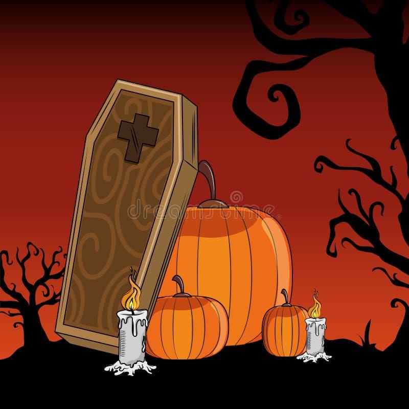 Шаржи хеллоуина страшные иллюстрация вектора