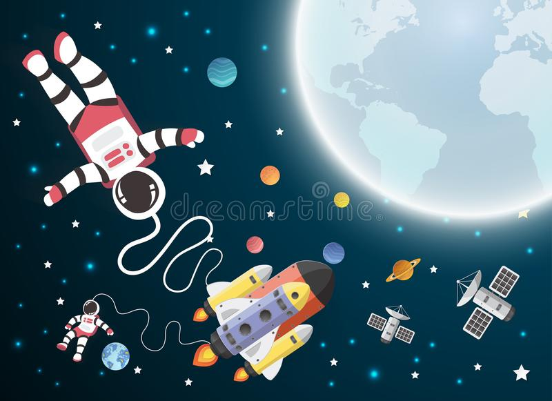 Шарж астронавта с космическим кораблем в орбите бесплатная иллюстрация