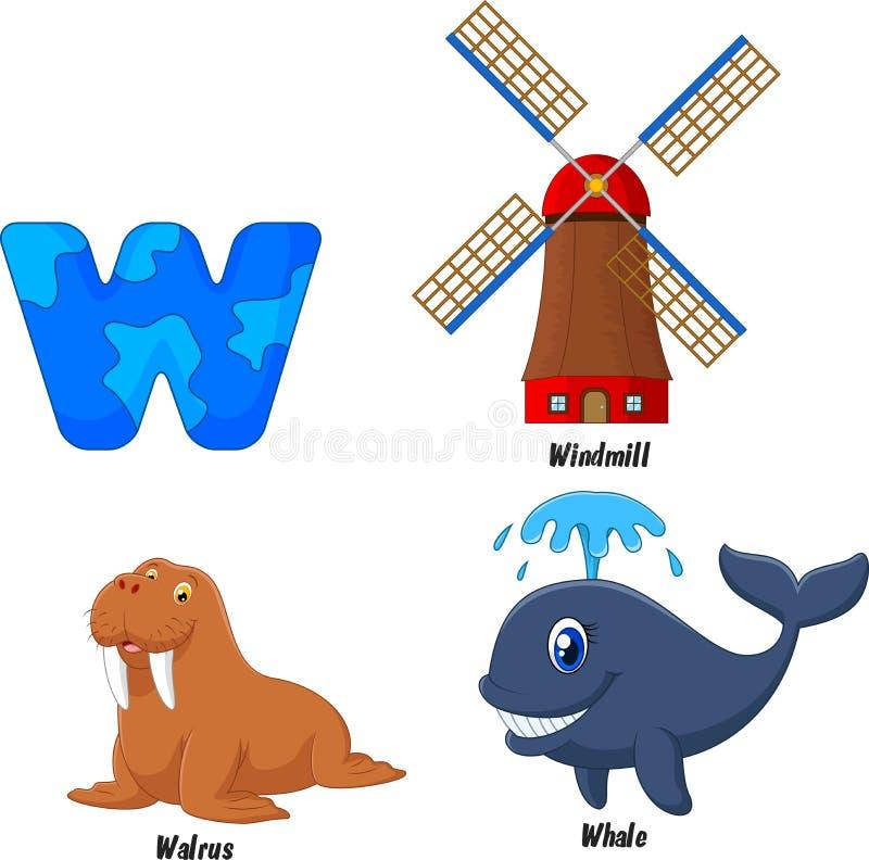 Шарж алфавита w бесплатная иллюстрация