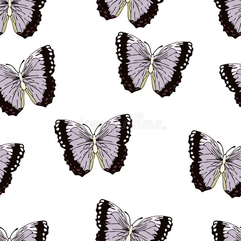 Шарж бабочки рисуя безшовную картину, предпосылку вектора Насекомое нарисованное абстракцией с крылами сирени фиолетовыми черными бесплатная иллюстрация