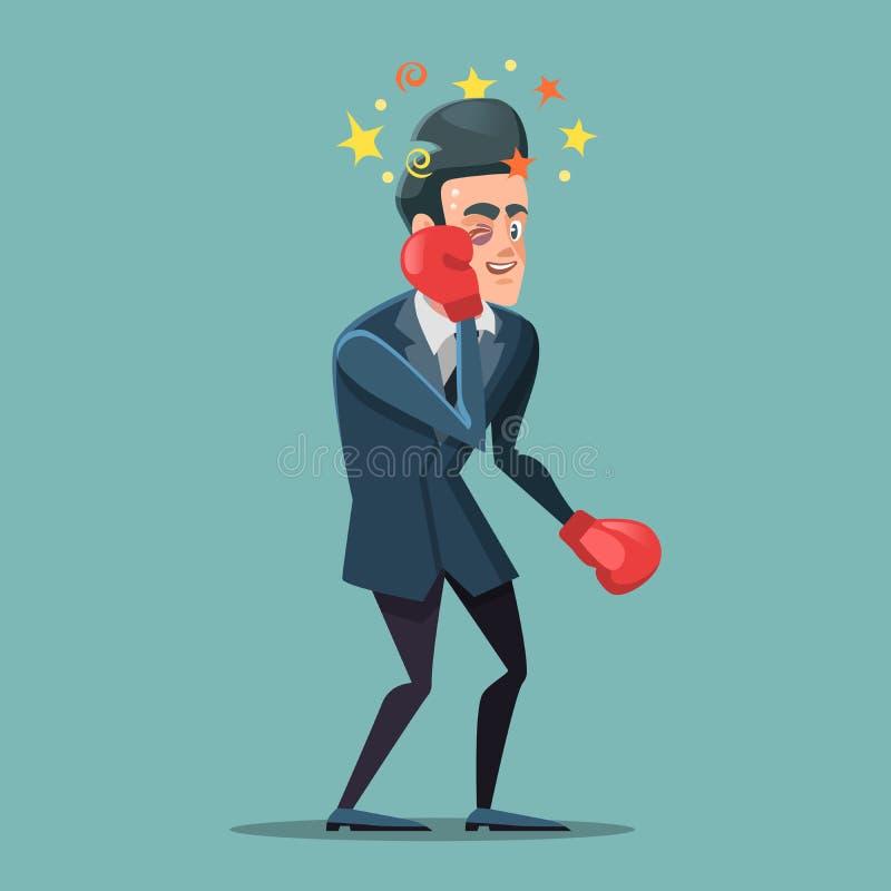 Шарж бизнесмена в перчатках бокса иллюстрация штока