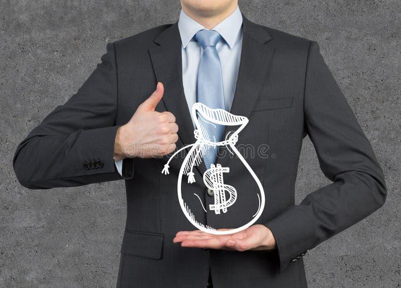 шарж бизнесмена показывая большой пец руки типа вверх стоковые изображения rf