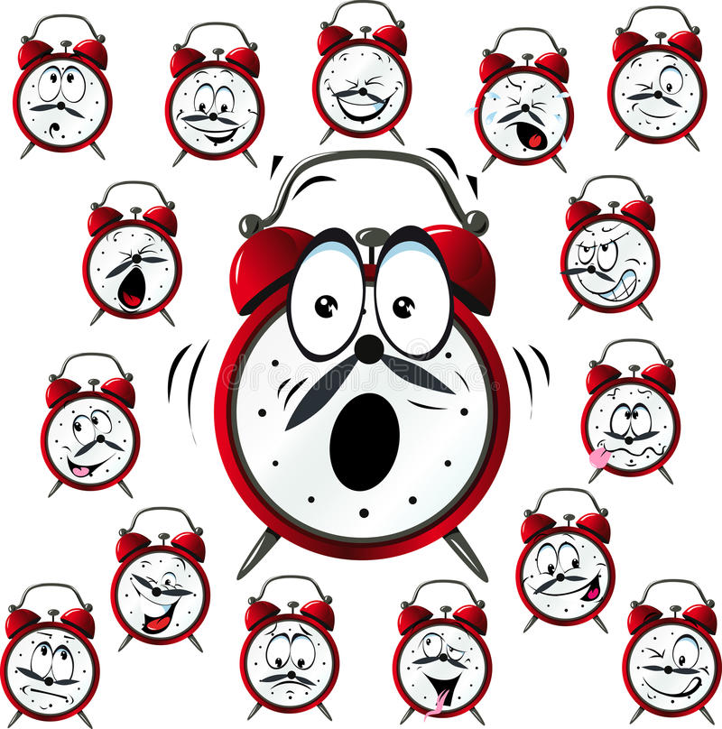 Шарж будильника с много выражений лица бесплатная иллюстрация