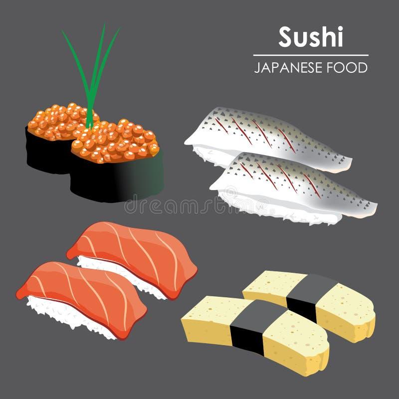 Шарж вектора иллюстрации морепродуктов риса меню еды крена суш японский бесплатная иллюстрация