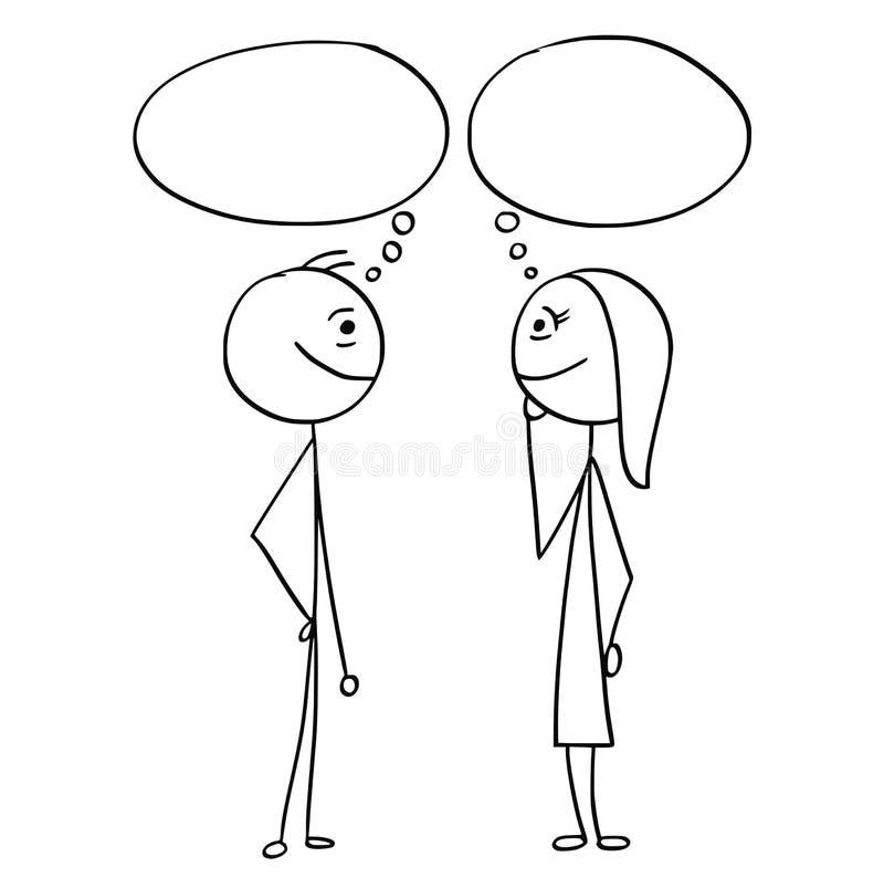 Шарж вектора человека и женщины с пустыми пустыми пузырями речи бесплатная иллюстрация