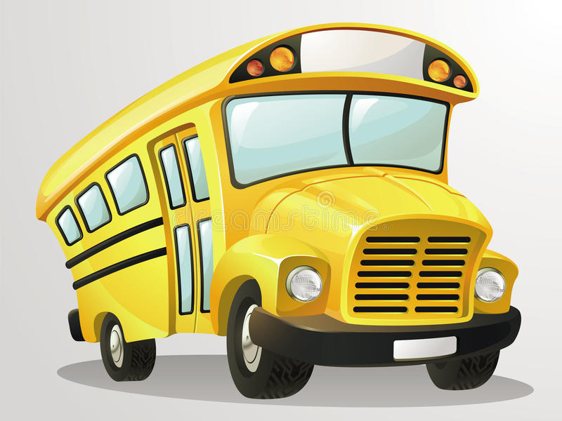 Шарж вектора школьного автобуса иллюстрация штока