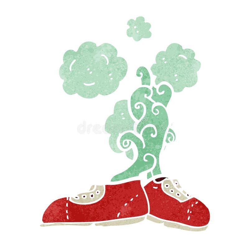 шарж вонючих старых ботинок ретро иллюстрация штока