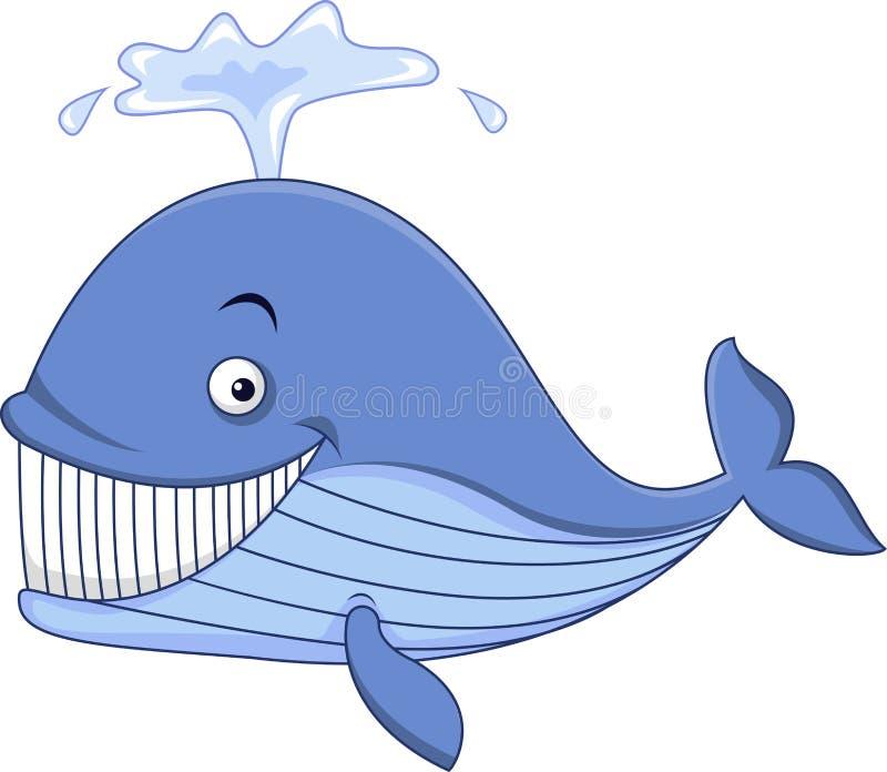 Шарж голубого кита иллюстрация вектора
