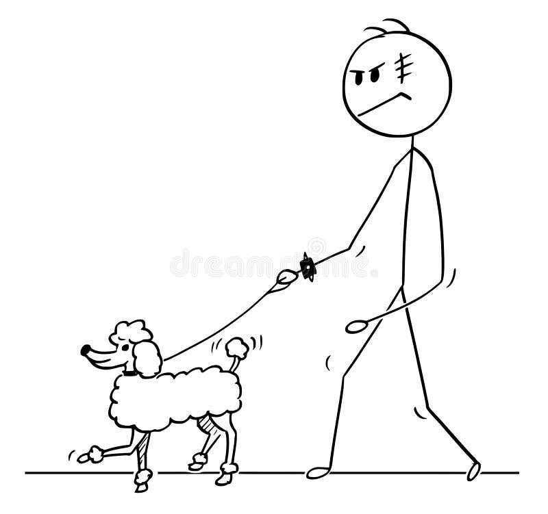Шарж грубого человека идя с собакой пуделя на поводке иллюстрация вектора