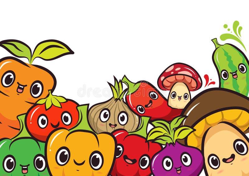 Шарж дизайна 10 овощей пакета иллюстрация вектора