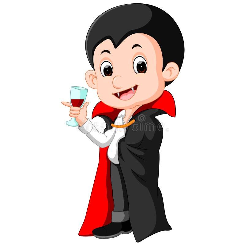 Шарж Дракула с стеклом крови иллюстрация штока